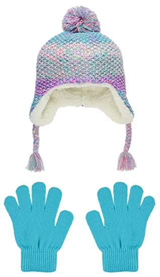 454b9195934 Capelli New York Girls Spacedye Earflap Hat With Pom and Magic Glove Set  Cool Combo Small