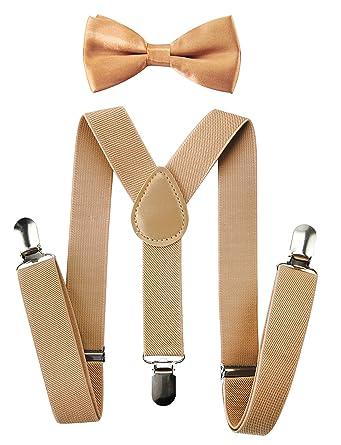 nuovo prodotto materiali di alta qualità ultima moda Axy Bretelle per bambini, forma a Y, di alta qualità, con papillon, tinta  unita, 3 clip, tenuta extra forte