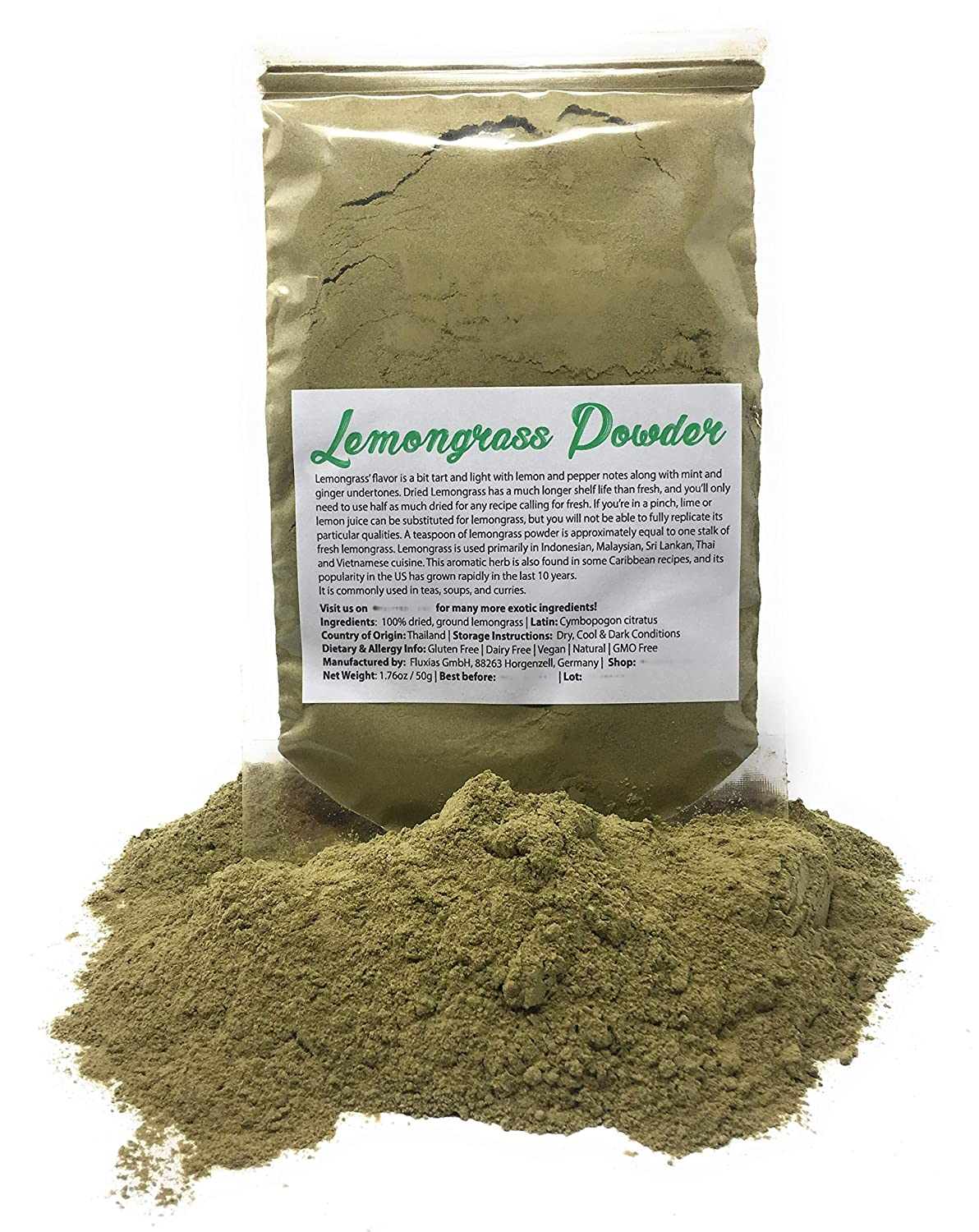 Organic Lemongrass Powder from Thailand | Made from fresh, fragrant Thai lemongrass - Super long shelf life | Net Weight: 1.76oz / 50g