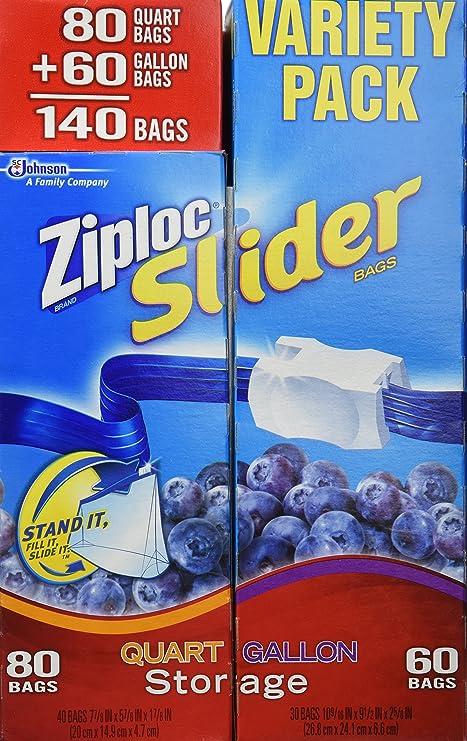 Ziploc - Paquete de 140 bolsas de fácil cremallera, cuartos ...