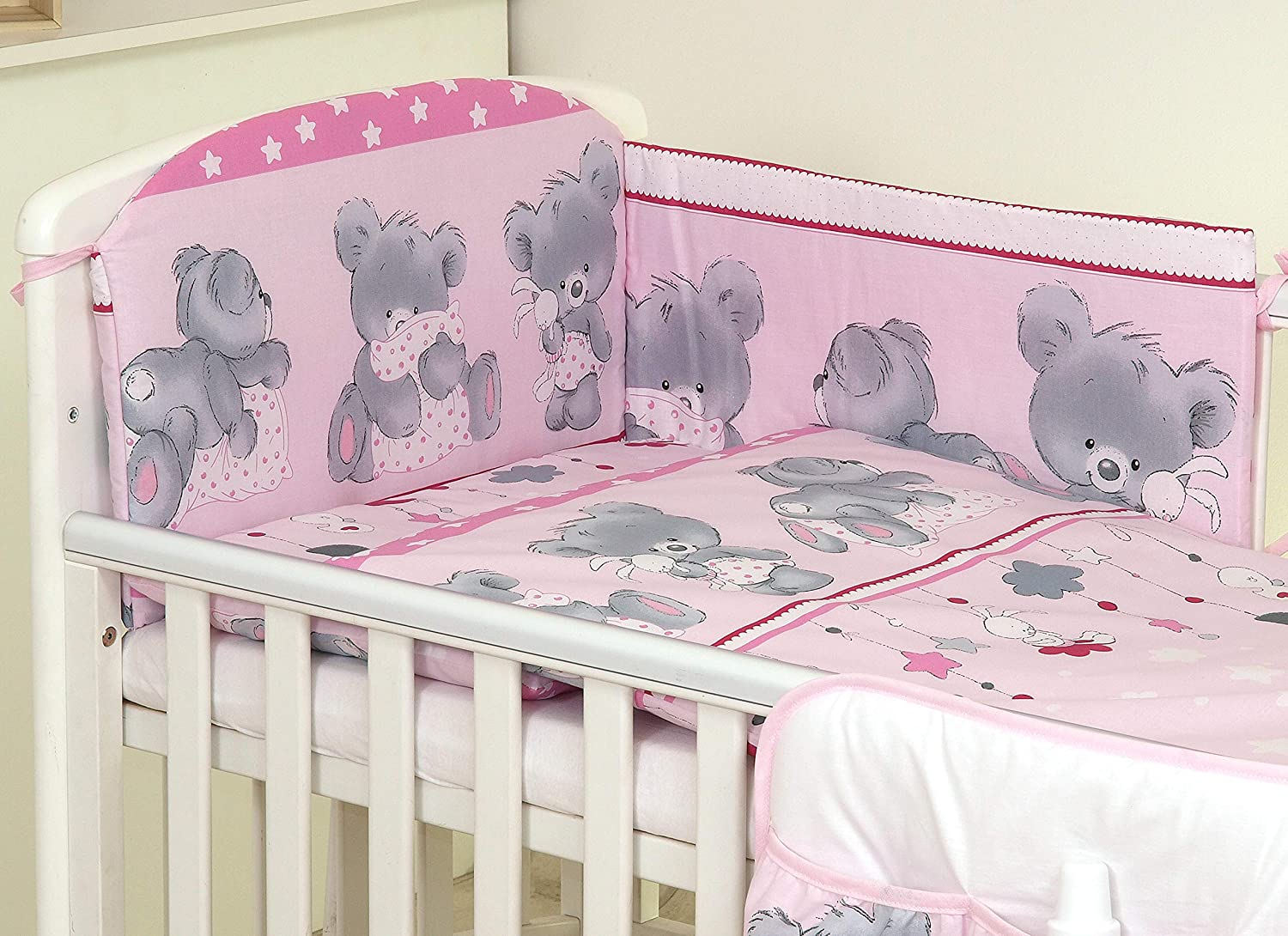 BABY BEDDING SET 120x90 PILLOWCASE DUVET COVER 2PC FIT COT 120x60 MOUSE GREY