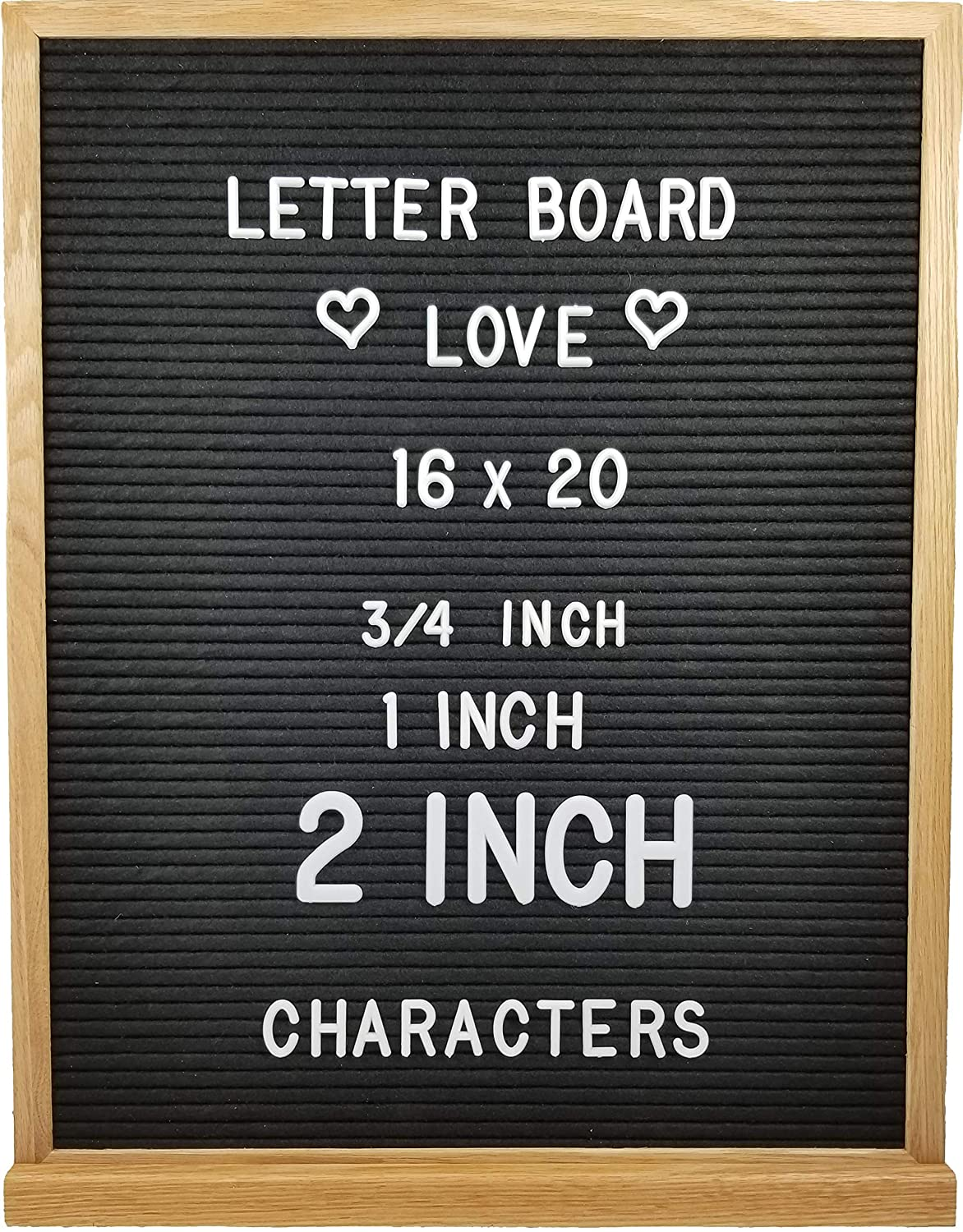 Letter Board Love Letter Board with Solid Oak Wood Frame, 694 Letters + Special Characters & Emojis, and Two Canvas Letter Bags. 12' x 18' Gray Felt