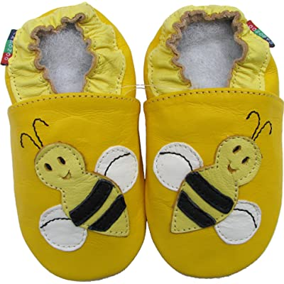 Carozoo Unisex Soft Sole baby shoes Toddler Slippers Sheep leather Bee Yellow S
