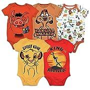 Disney Lion King Baby Boys' 5 Pack Bodysuits Simba Timon Pumbaa, 0-3 Months, Multi