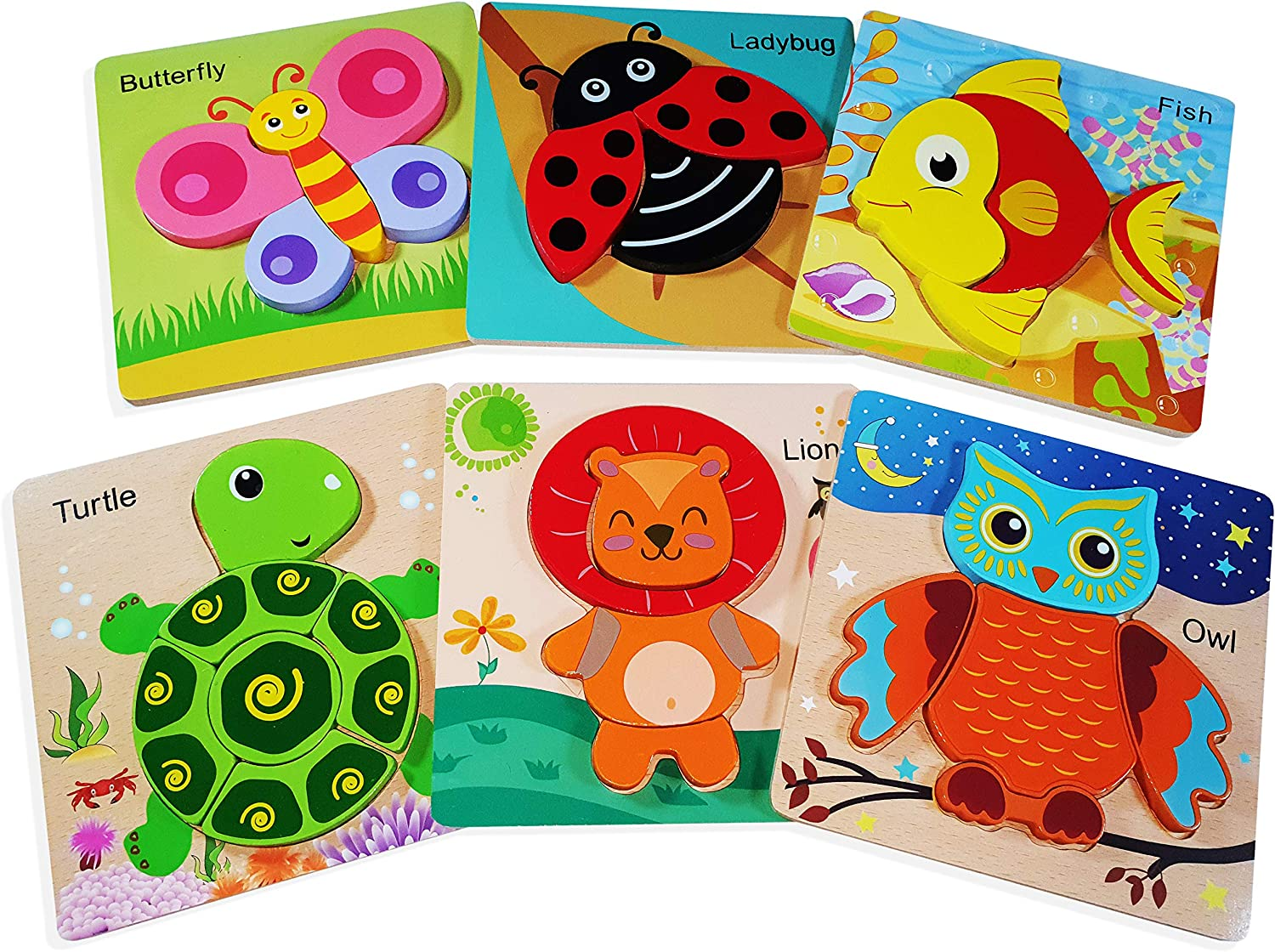 Level-up Toys Wooden Jigsaw Puzzles for Toddlers (6 Pack animal puzzles) + Storage bag