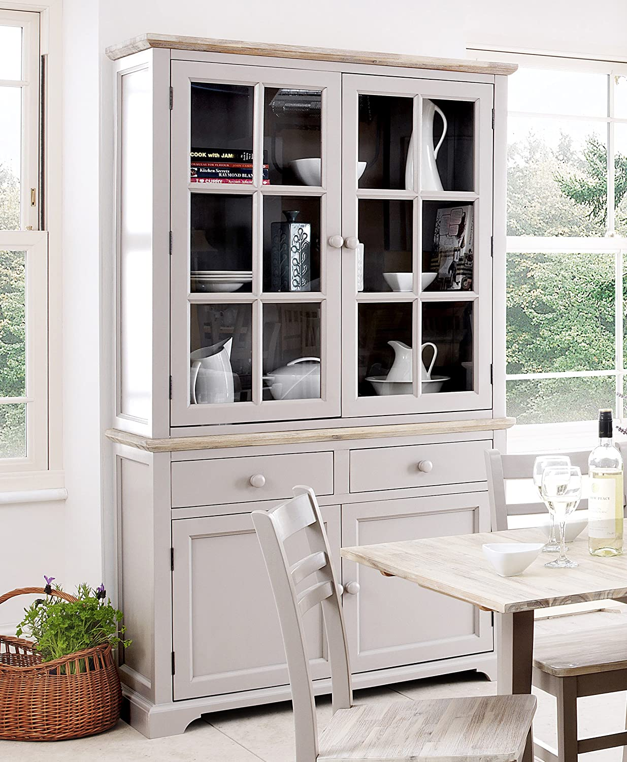 Florence Display Cabinet Large Truffle Kitchen Dining Dresser With Glass Doors Shelves And Drawers Fully Assembled Amazon Co Uk Kitchen Home