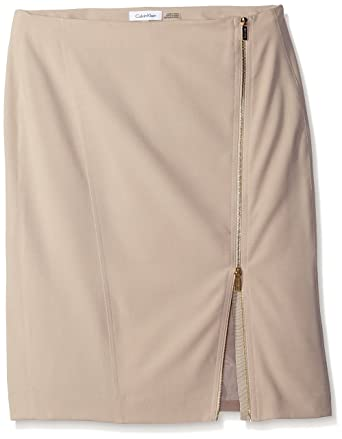 18cca2ccc18 Calvin Klein Women s Pencil Skirt W Assymetrical Zip at Amazon ...