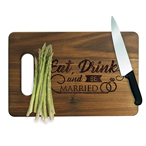Birthday #012 Anniversary Housewarming Award Promotion Wedding Eat Drink and be Married Personalized Engraved Cutting Board Set Corporate Gift