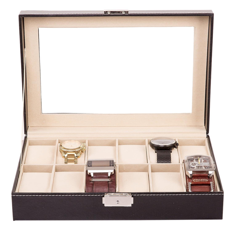 TRESKO® Caja para 12 de Relojes organizador de relojes caja relojero estuche relojero para almacenar relojes, de piel sintética, negro