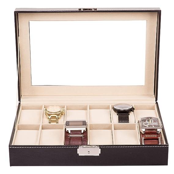 TRESKO® Caja para 12 de Relojes organizador de relojes caja relojero estuche relojero para almacenar relojes, de piel sintética, negro: Amazon.es: Relojes