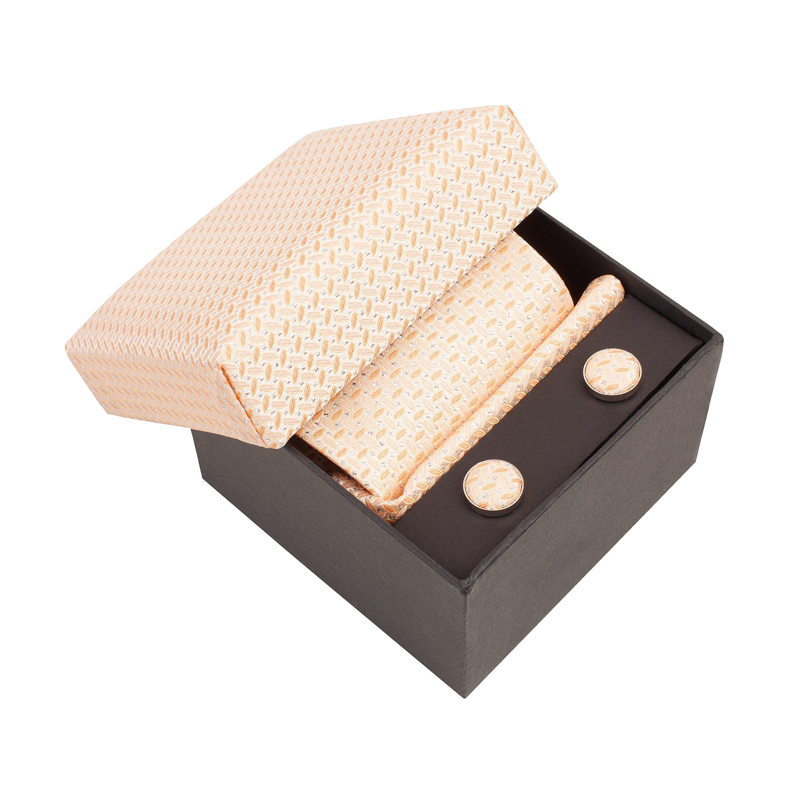 BTIE-025 Luxury Gift Box- Silk Tie, Handkerchief, Cufflinks- Peach