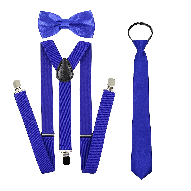 5c2d2f3fff61 Hanerdun Unisex Zipper Neck Tie Suspender Bowtie Sets Adjustable Bowtie  Suspender And Necktie For Boys & Girls BOW-1018_BLACK