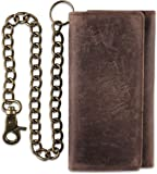 RFID Blocking Mens Tri-fold Long Style Cowhide Leather Steel Chain Wallet,