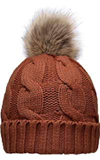 40bb93dcc2b NEOSAN Women s Winter Ribbed Knit Faux Fur Pompoms Chunky Lined Beanie Hats