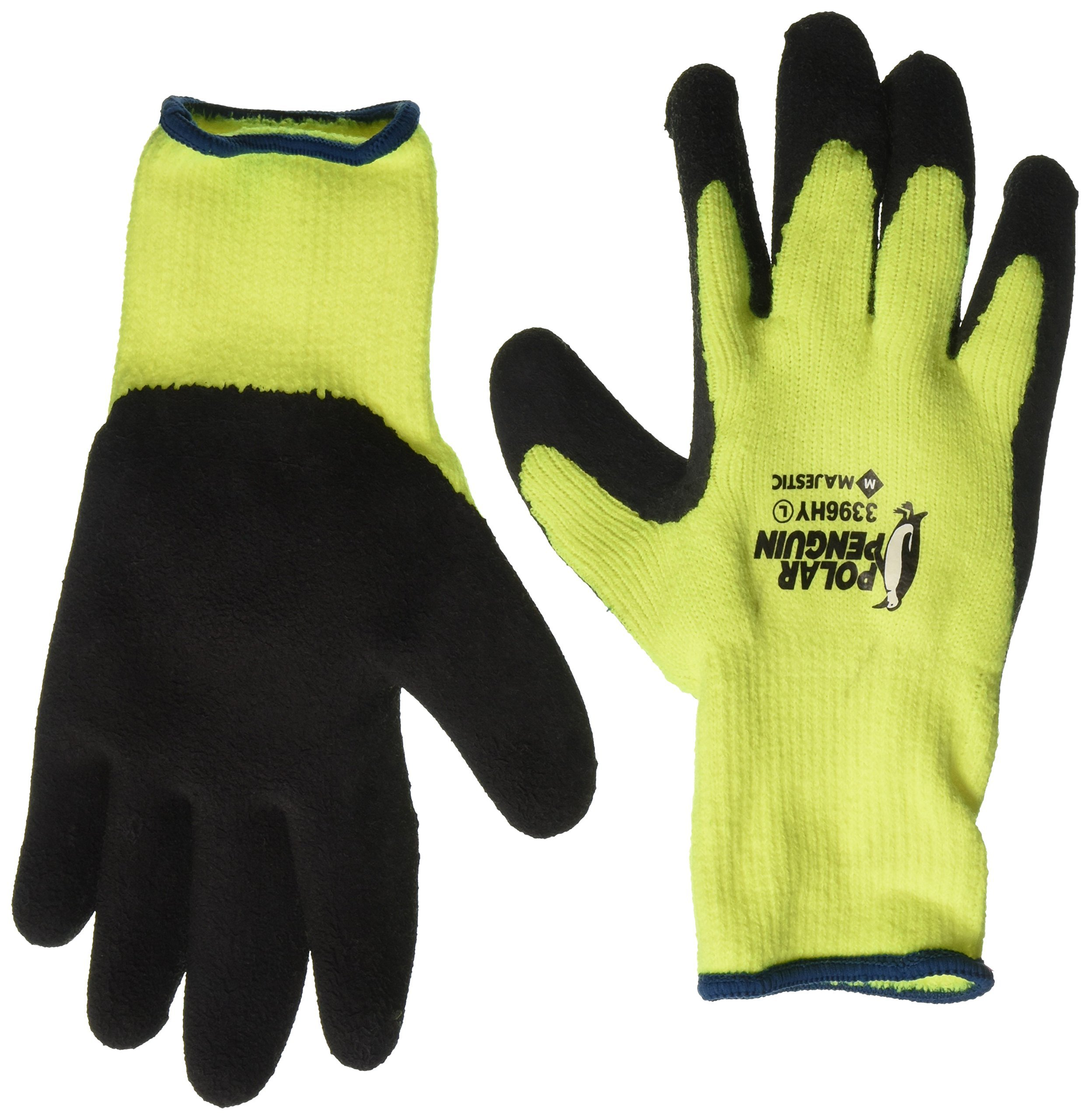 Majestic Polar Penguin 3396HY Winter Lined Hi-Vis Green Yellow Latex Coated Palm Gloves Size Large (12 Pair) by Majestic Glove