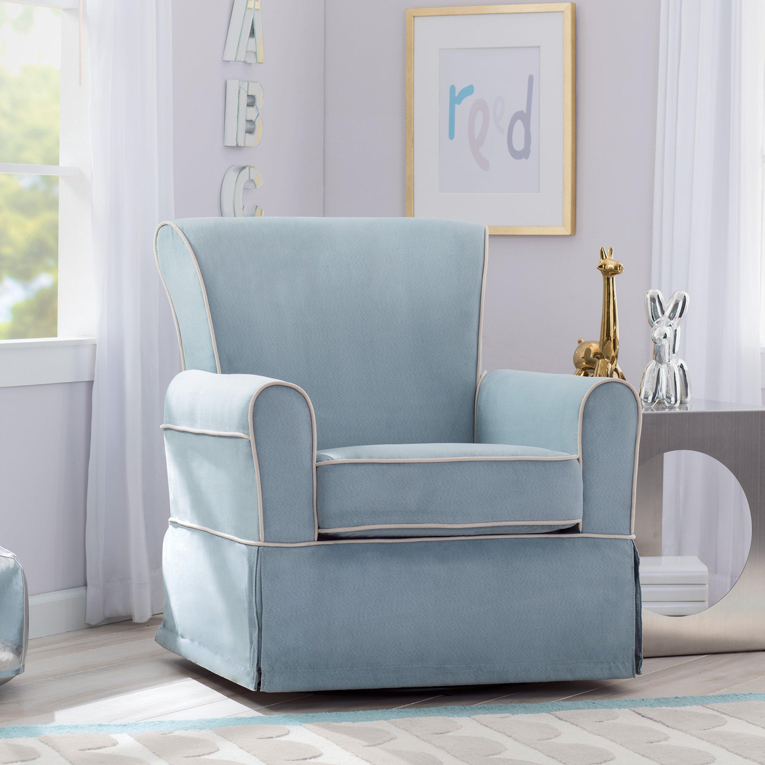 Delta Furniture Benbridge Upholstered Glider Swivel Rocker Chair, Frozen Blue with Cream Welt by Delta Furniture (Image #2)
