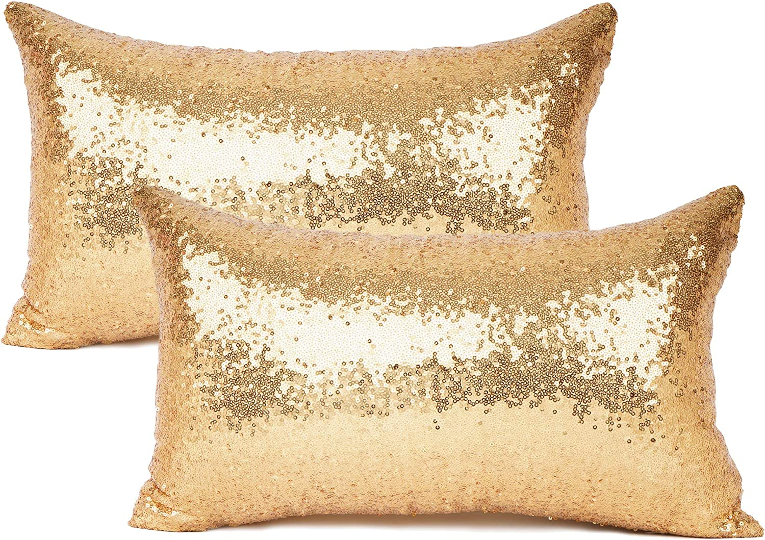ONE only NEW Antique Gold Beige FINE STRIPED SILK Cushion cover OBLONG 29 x 50cm