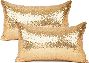 """YOUR SMILE Pack of 2, New Luxury Series Gold Decorative Glitzy Sequin & Comfy Satin Solid Throw Pillow Cover Cushion Case for Wedding/Christmas,12"""" x 20"""""""