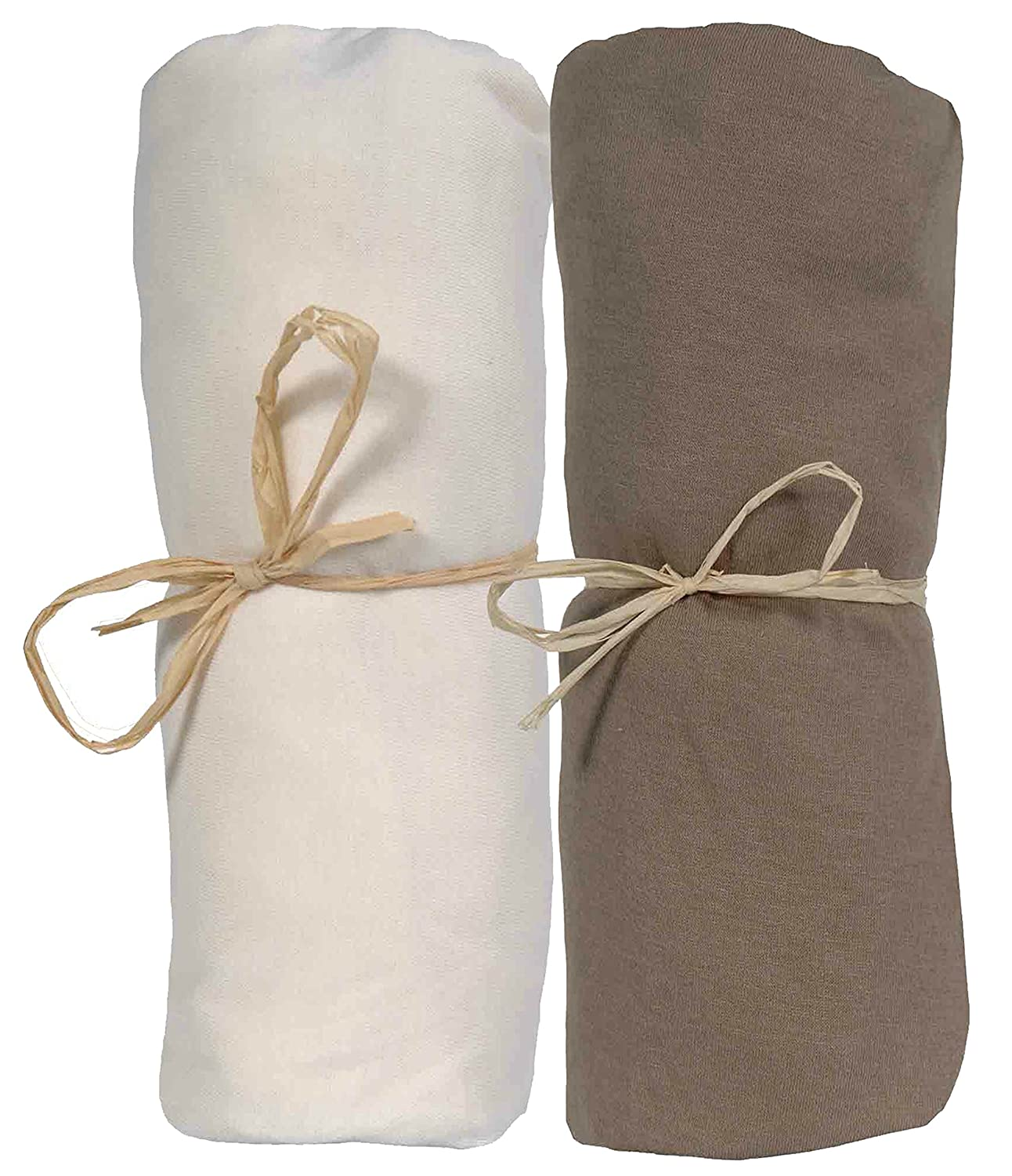 Ptit Basile Set of 2 Fitted Sheets for Babies in Various Sizes and Colours Organic Cotton Jersey Stretchy with Elastic All Around Premium Combed Cotton