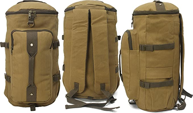 Convertible Canvas Backpack Duffle Bag Large Travel School Weekend Carry  Bookbag Duffel 3 in 1 Rucksack f913e1bcb9