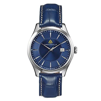 3e0f6a393 Image Unavailable. Image not available for. Color: Trouvaille Watches  Classic Index Auto - Blue