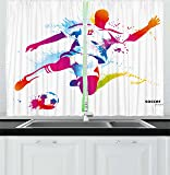 Ambesonne Teen Room Kitchen Curtains, Soccer Proffesional Player Kicks Ball Watercolor Style Spray Championship Image…