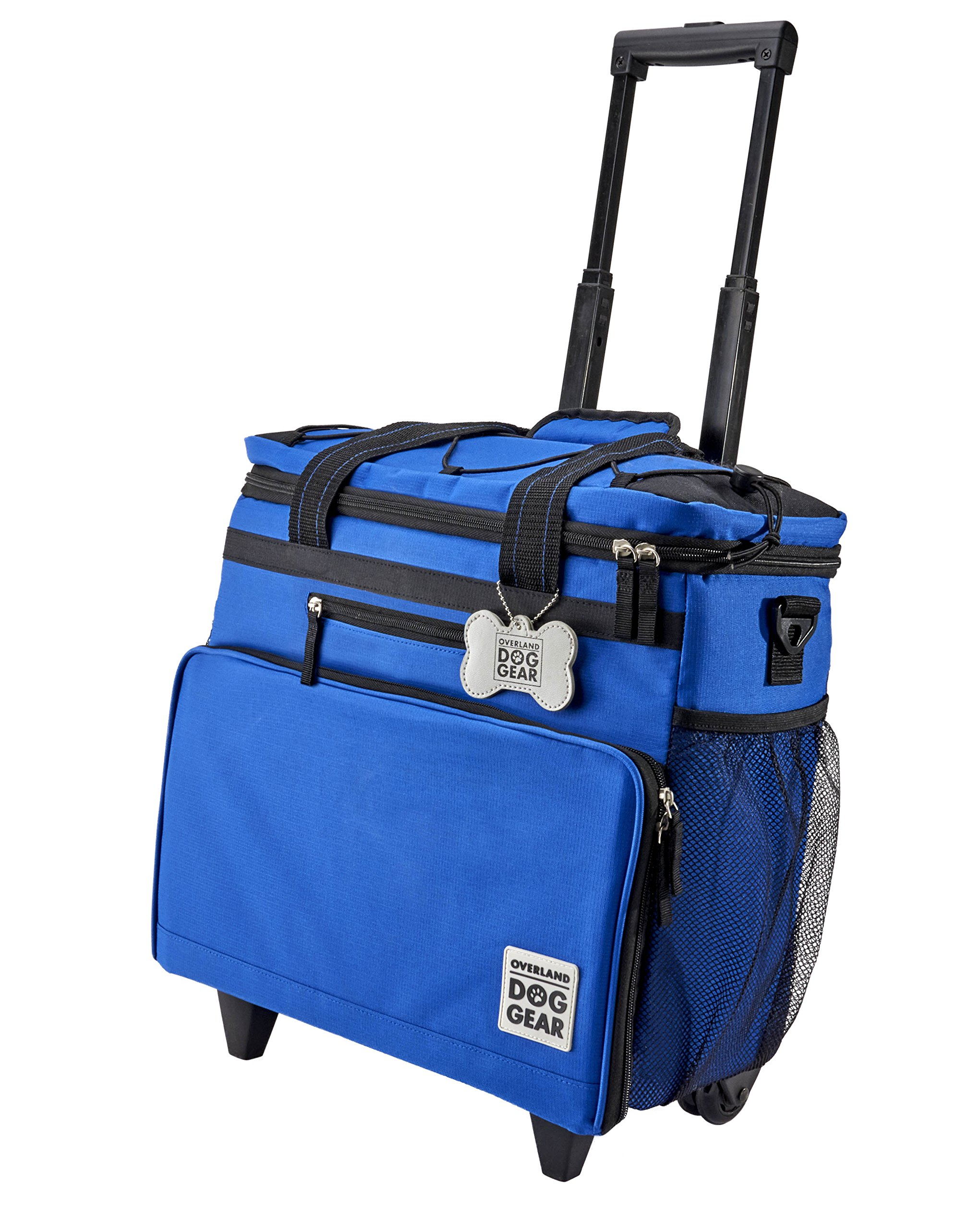 Overland Dog Gear, Dog Travel Bag, Rolling Week Away Bag, Includes Lined Food Carriers and 2 Collapsible Dog Bowl, Royal Blue by Overland Dog Gear