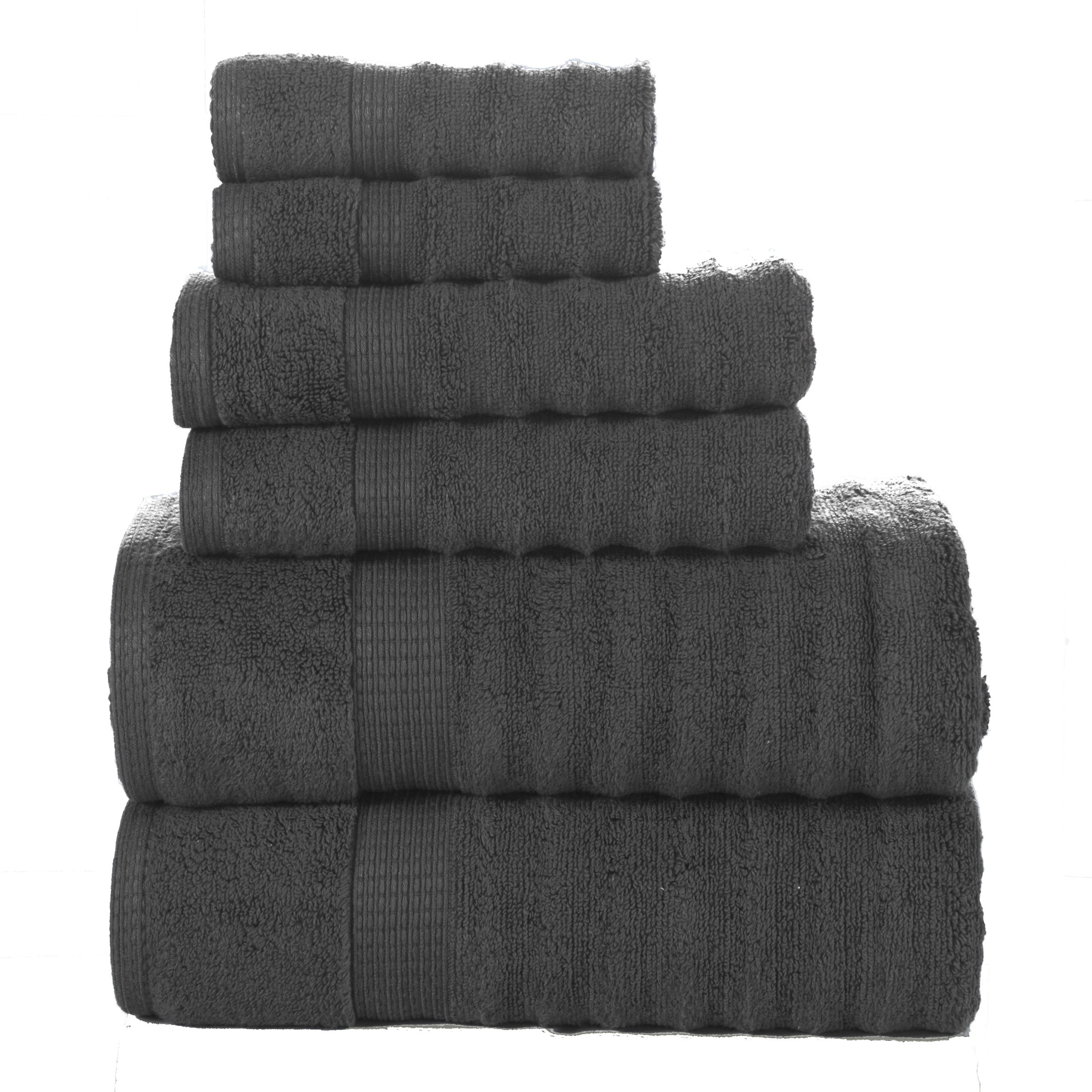 Affinity Home Collection 6 Piece Quick Dry Elegance Spa Zero Twist Cotton Ribbed Towel Set, Grey
