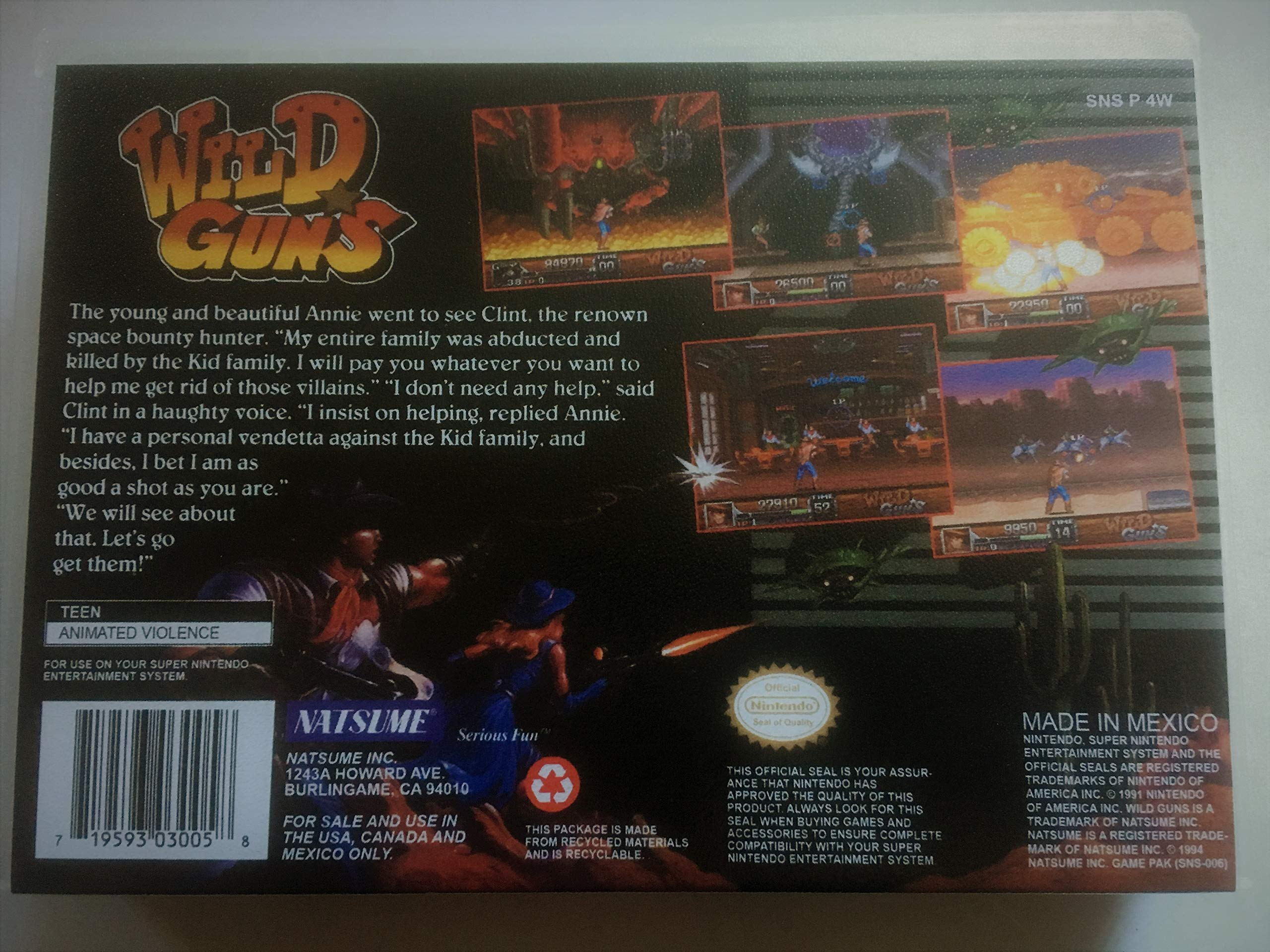 Amazon.com: Wild Guns (Super Nintendo, SNES) - Reproduction ...