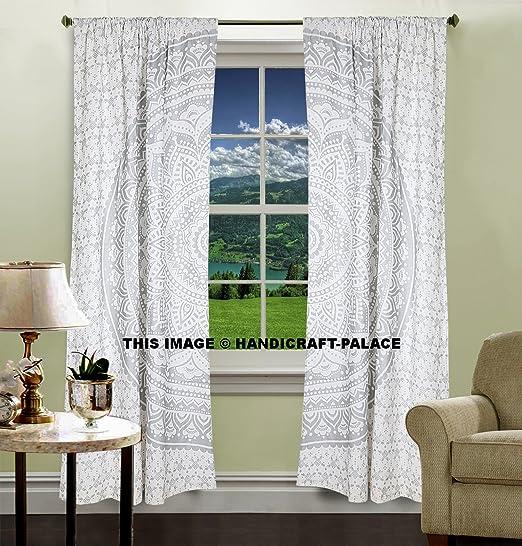 Cortinas plata Ombre Mandala, Mandala tapiz, decoración del hogar, pared, de cortinas, indio Tapestry, ventana tratamiento, cortina, Protector de, un juego de cortinas, enrollable: Amazon.es: Hogar