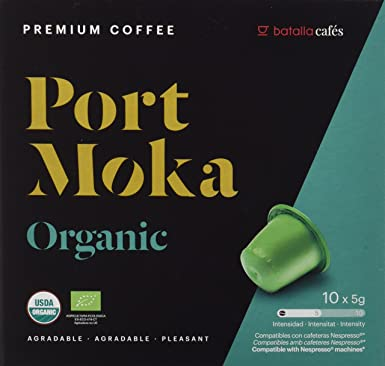 Port Moka Cápsulas de Café 100% Orgánico Arábica Compatibles con Cafetera Nespresso - 4 Paquete de 10 Unidades