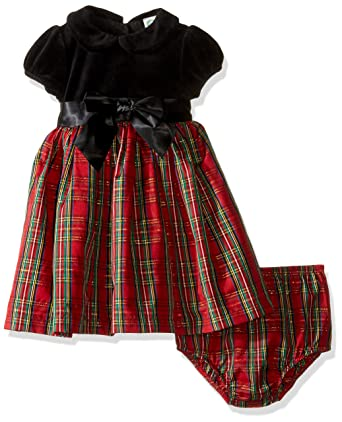 little me baby girls holiday plaid dress with panty red - Girls Plaid Christmas Dress