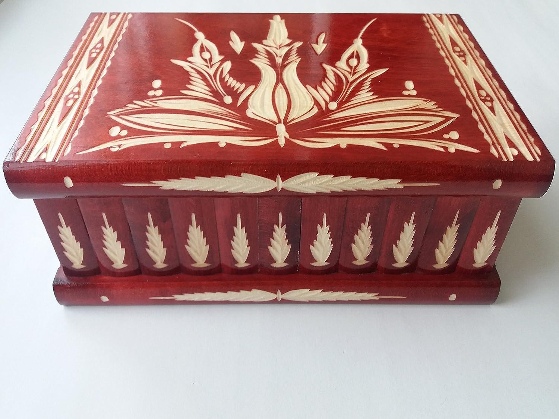 Caja puzzle de madera más grande del rompecabezas gigante rojo mágica secreta de almacenaje tallada especial de joyería cajón ocultado caja del baratija: Amazon.es: Handmade