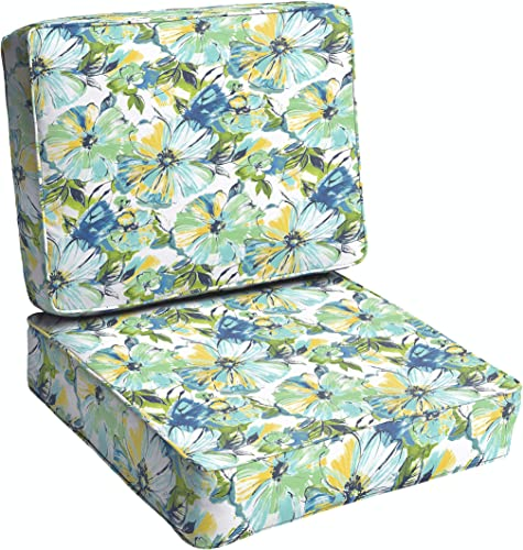 Humble and Haute Perryn Green/Blue Floral Indoor/Outdoor Corded Chair Cushion Set