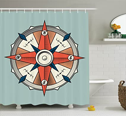 Ambesonne Compass Shower Curtain Illustration Arrows Cartography Journey Path Always North Fabric Bathroom