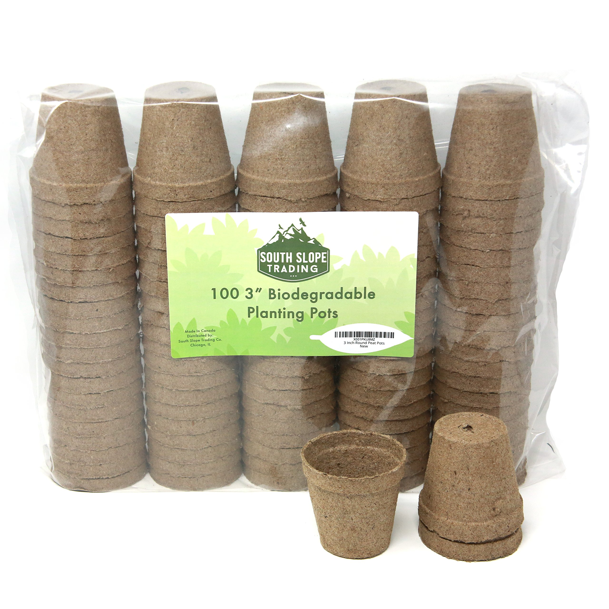 3 Inch Round Peat Pots - 100% Biodegradable Peet Pots for seedlings - Peat Pots Pack of 100 - Peat Pots 3'' Jiffy Pots Made in North America