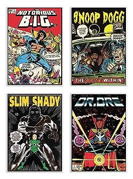 4 Art-Poster, 20 x 30 cm – Rappers Comics – David Redon