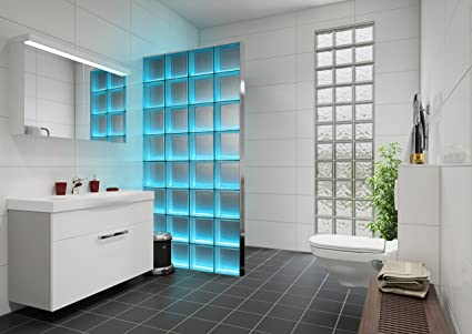 Bloques De Vidrio Para Baño | Fuchs Design Mampara De Bloques De Vidrio Claro Con Iluminacion