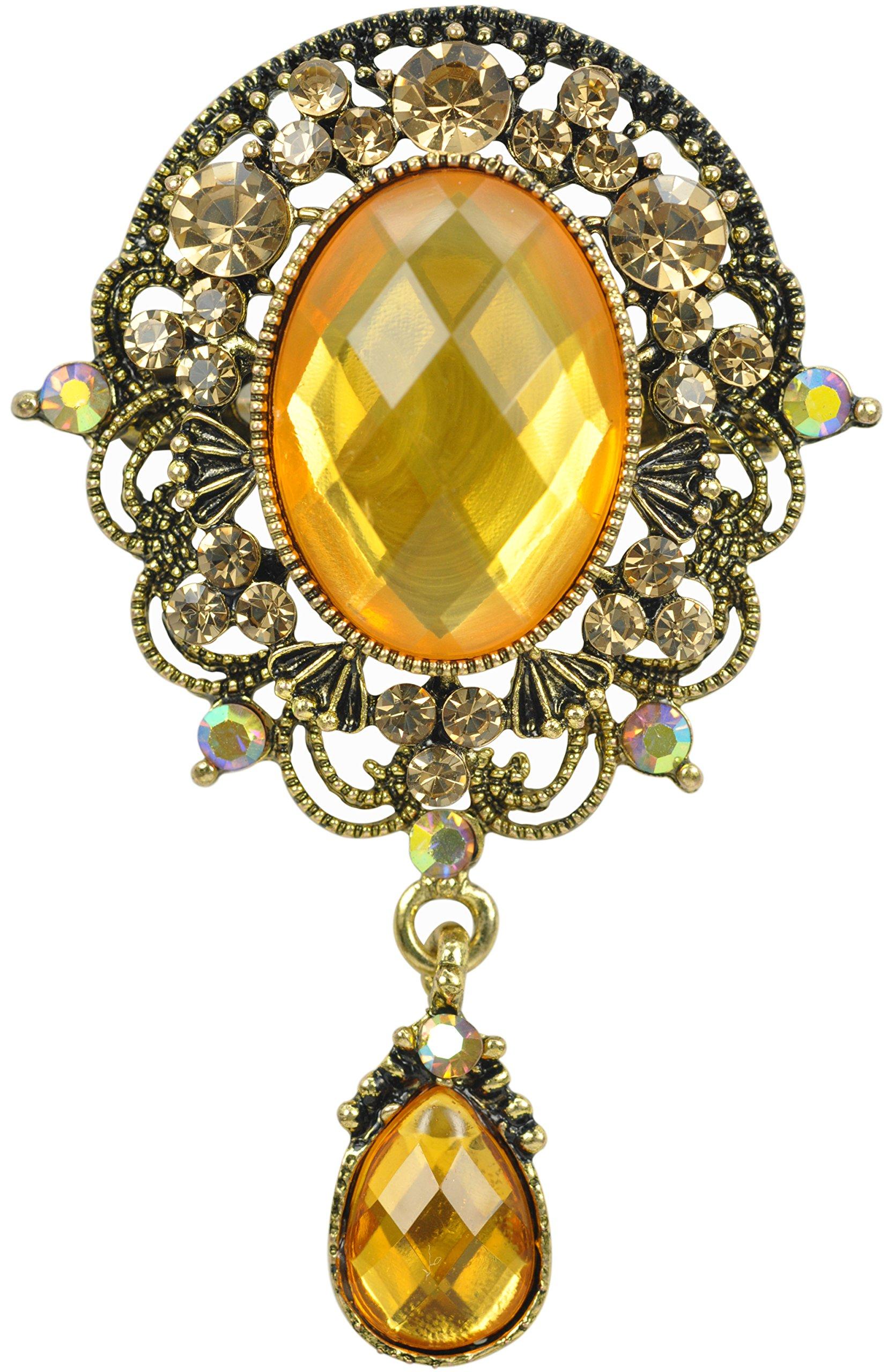 Gyn&Joy Women's Crystal Gold-Tone Vintage Style Teardrop Brooch Pin BZ038