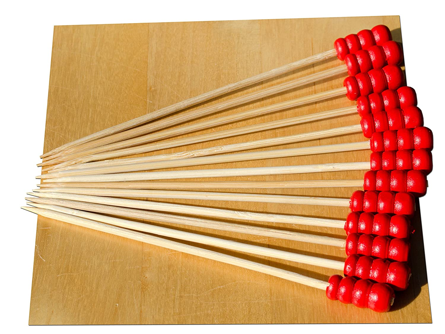 Red Abacus bead wood skewer 9cm x100 Gifts Of The Orient GOTO®