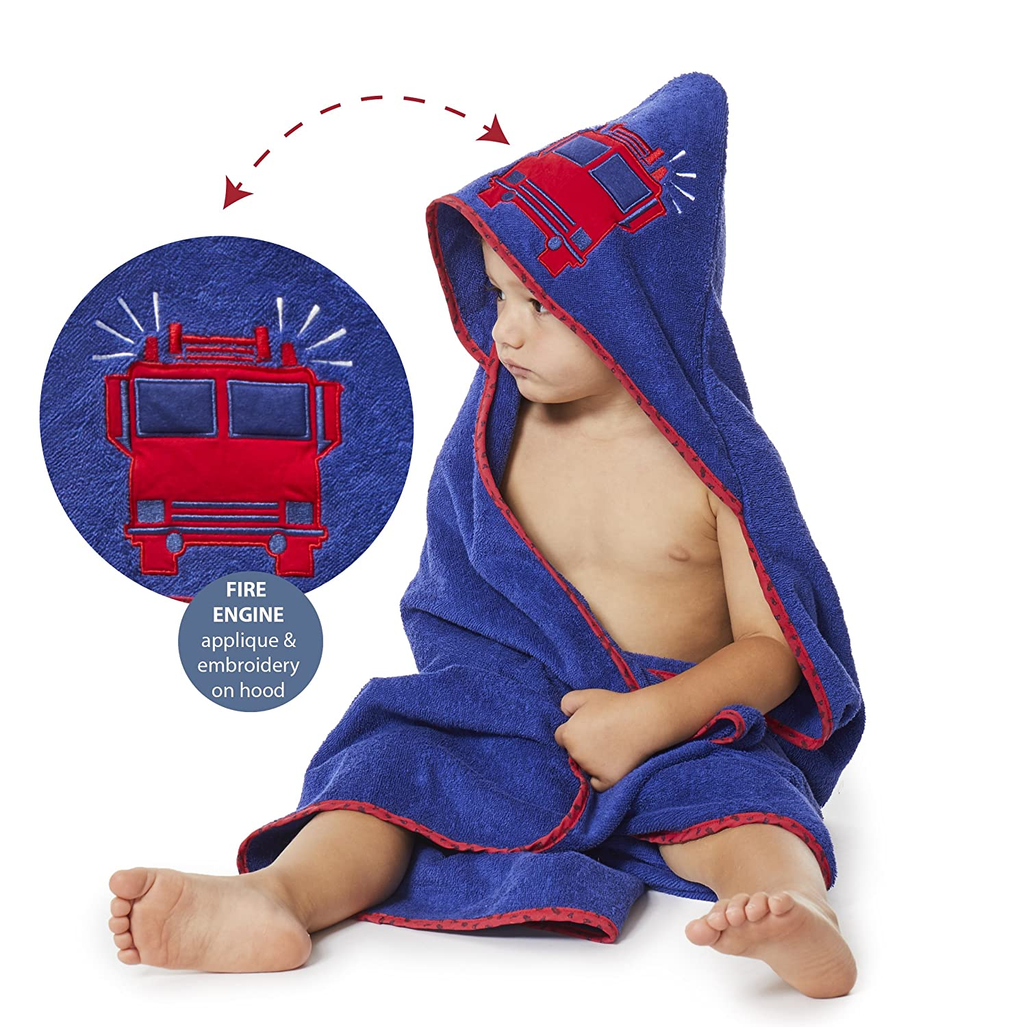 """Bluenido Boys Hooded Towel FIRE TRUCK Fire Engine 35"""" x 35"""" for Infants, Toddlers and Kids, Great for Gifts. Perfect for Bath, Pool and Beach. 100% Cotton"""