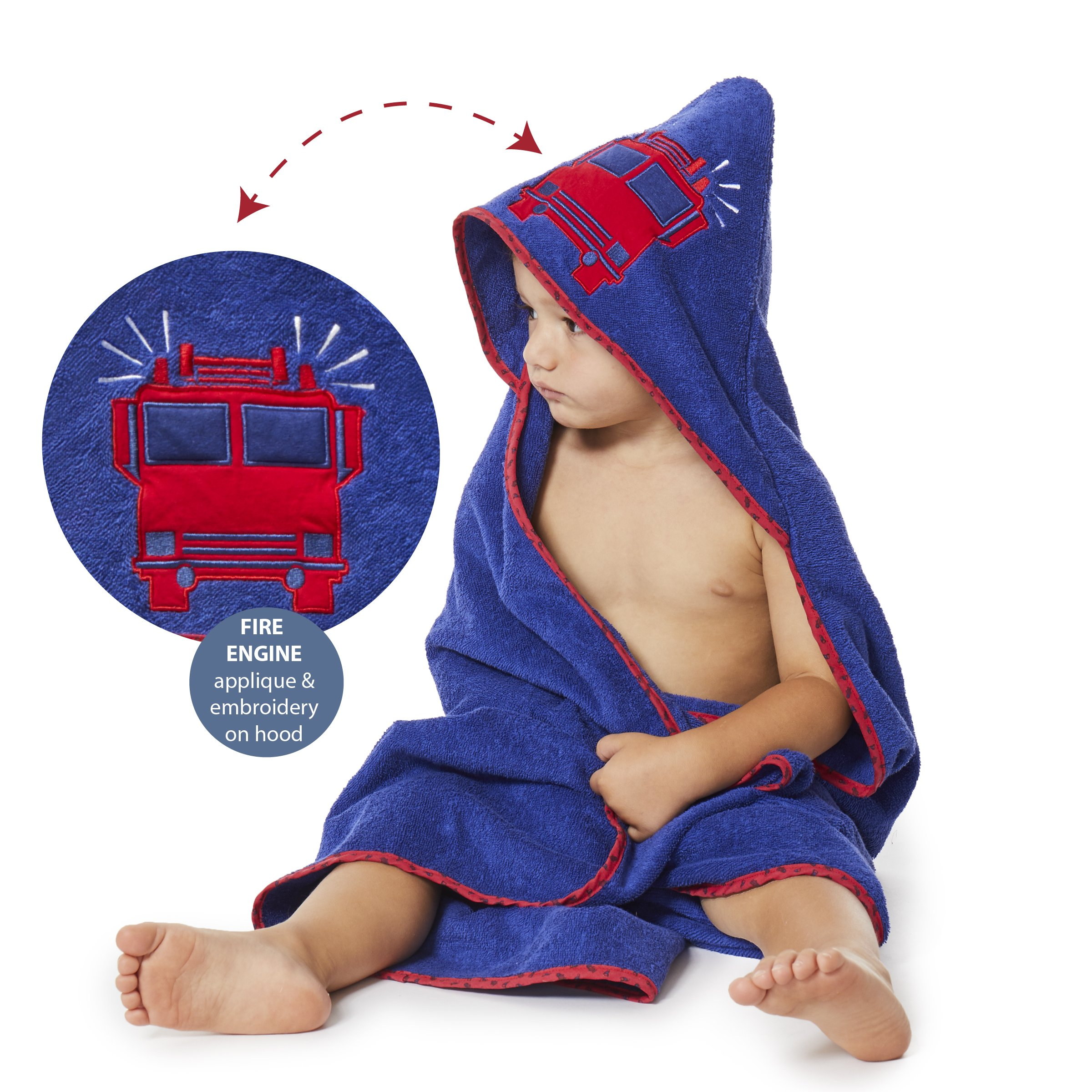 Bluenido Boys Hooded Towel FIRE TRUCK Fire Engine 35'' x 35'' for Infants, Toddlers and Kids, Great for Gifts. Perfect for Bath, Pool and Beach. 100% Cotton