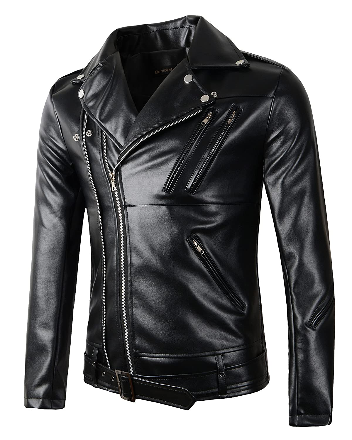 New Mens Causal Belted Design Slim Pu Leather Biker Zipper Jacket ...