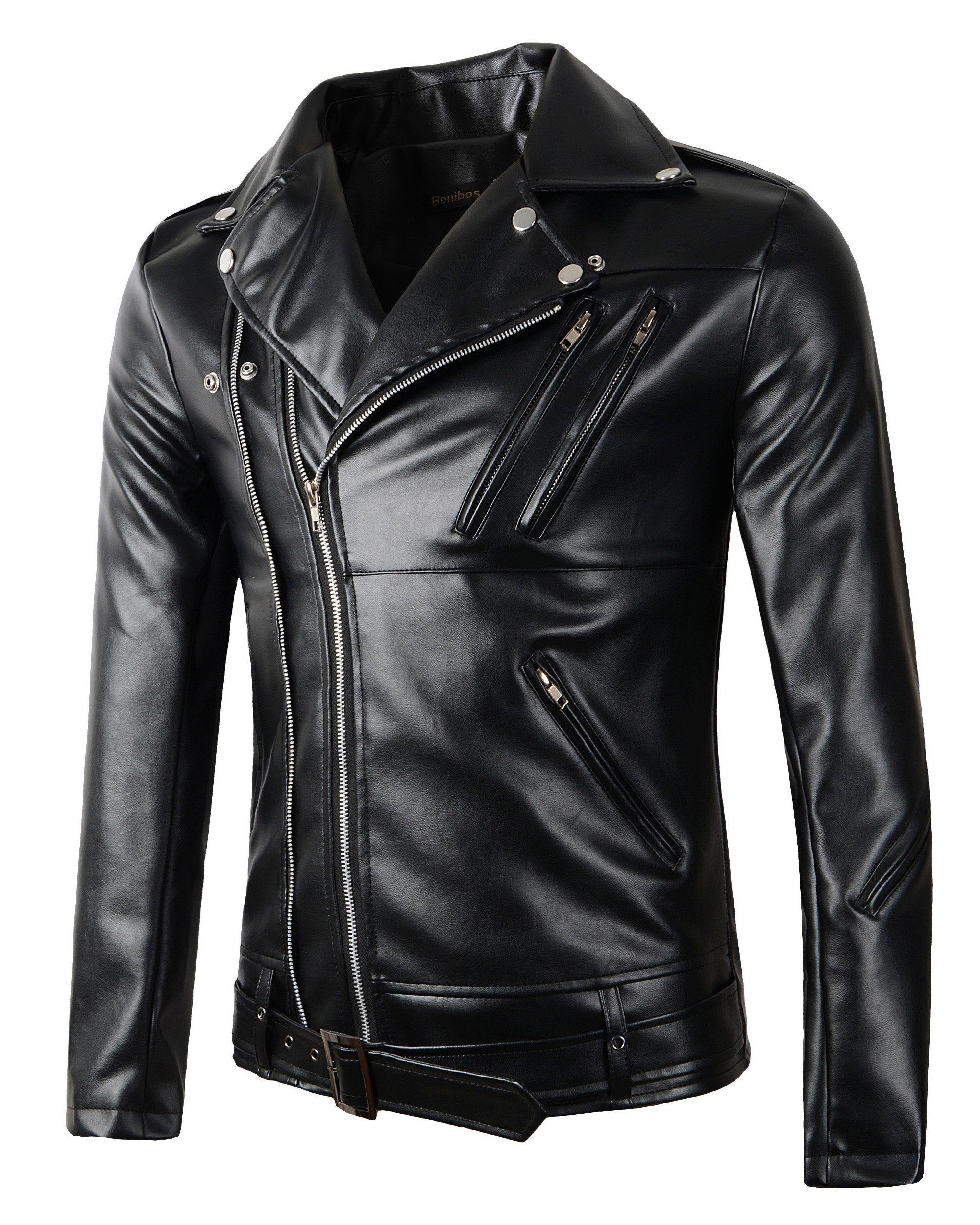 New Mens Causal Belted Design Slim Pu Leather Biker Zipper Jacket Coat (Large), Black by Beninos