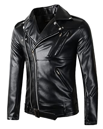 69af3afa56c0 Benibos New Mens Causal Belted Design Slim Pu Leather Biker Zipper Jacket  Coat (X-
