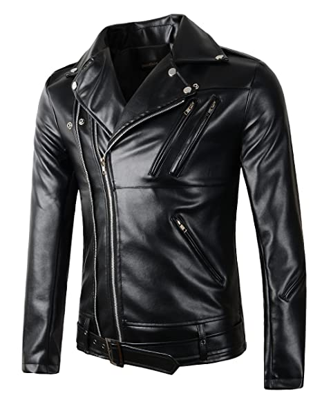 Men's Vintage Style Coats and Jackets New Mens Causal Belted Design Slim Pu Leather Biker Zipper Jacket Coat $46.99 AT vintagedancer.com