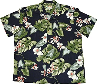 product image for Paradise Found Mens Monstera Orchid Shirt Navy Blue S