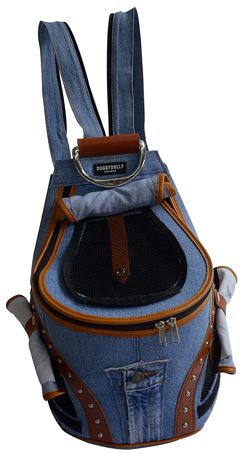 Doggy Dolly PC031 Denim Rucksack for Dogs with Net Window, bluee and Brown
