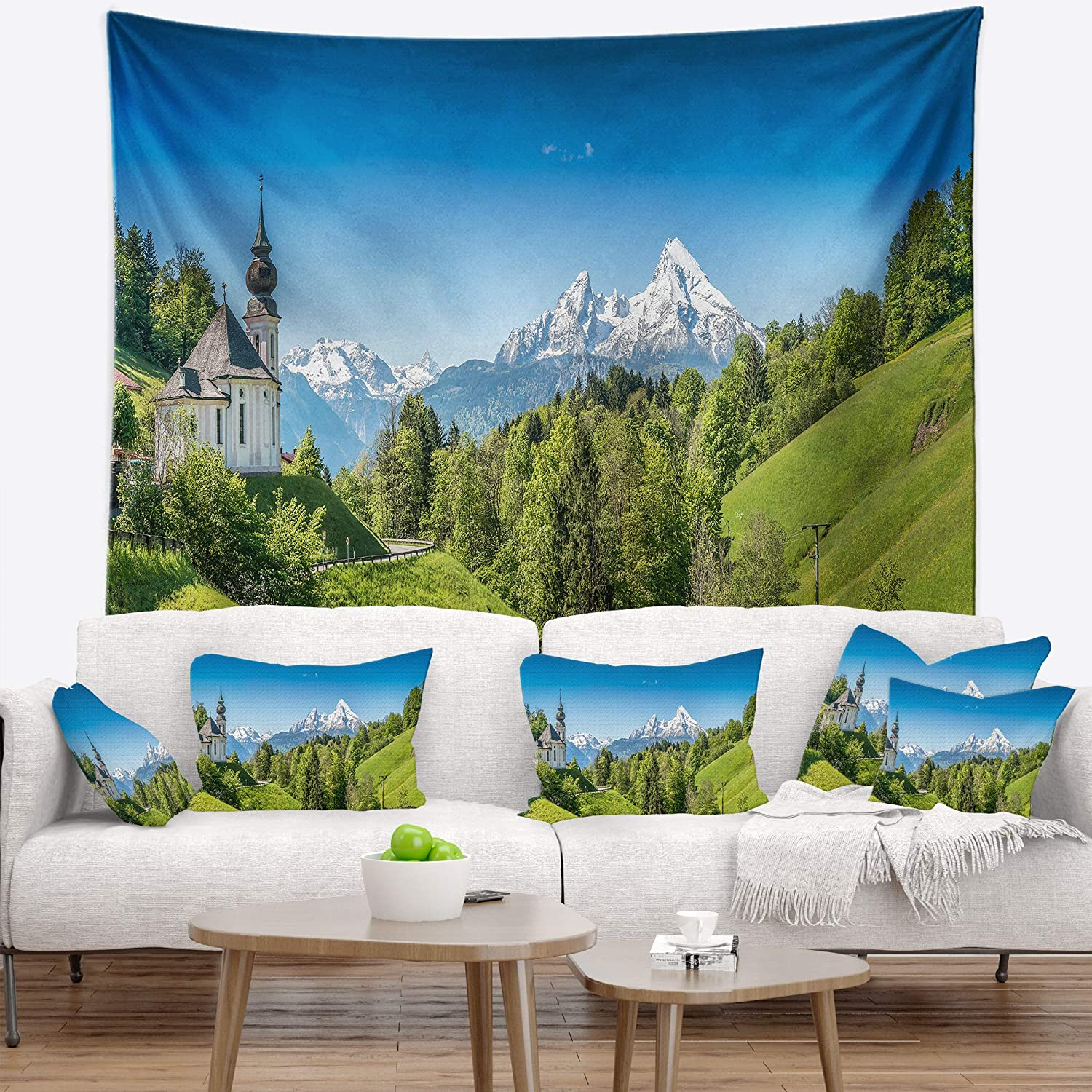 Designart Tap15334 39 32 Green Mountain View Of Bavarian Alps Landscape Blanket Décor Art For Home And Office Wall Tapestry Medium 39 In Created On Lightweight Polyester Fabric X 32 In Home Kitchen