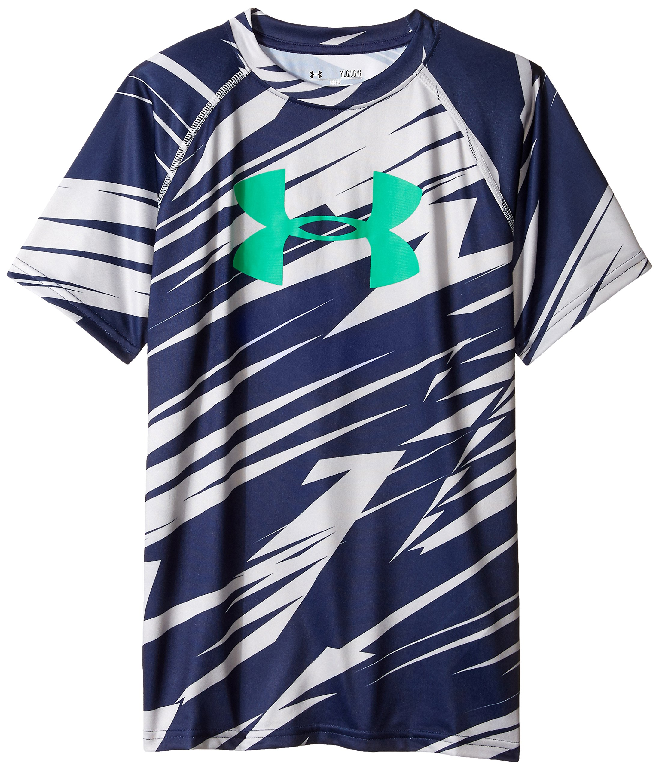 Under Armour Boys' Tech Big Logo Printed Short Sleeve T-Shirt, Steel /Jade, Youth X-Small